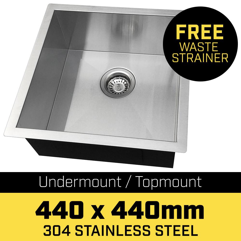 304 Stainless Steel Undermount Topmount Kitchen Laundry Sink - 440 x 440mm