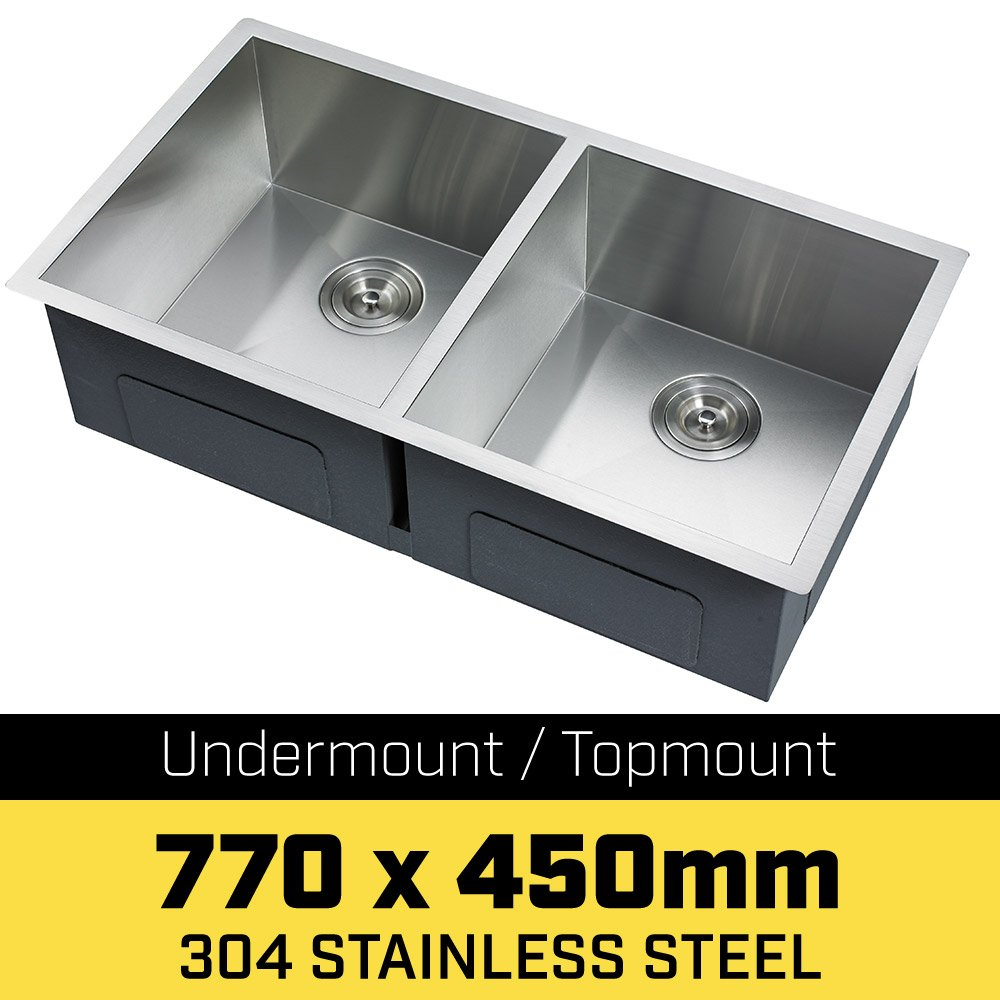 304 Stainless Steel Undermount Topmount Kitchen Laundry Sink - 770 x 450mm