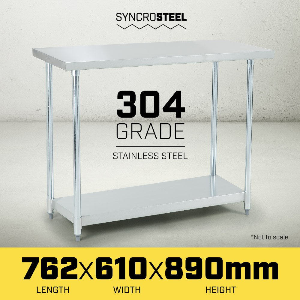 304 Stainless Steel Prep Kitchen Work Bench 762 x 610mm