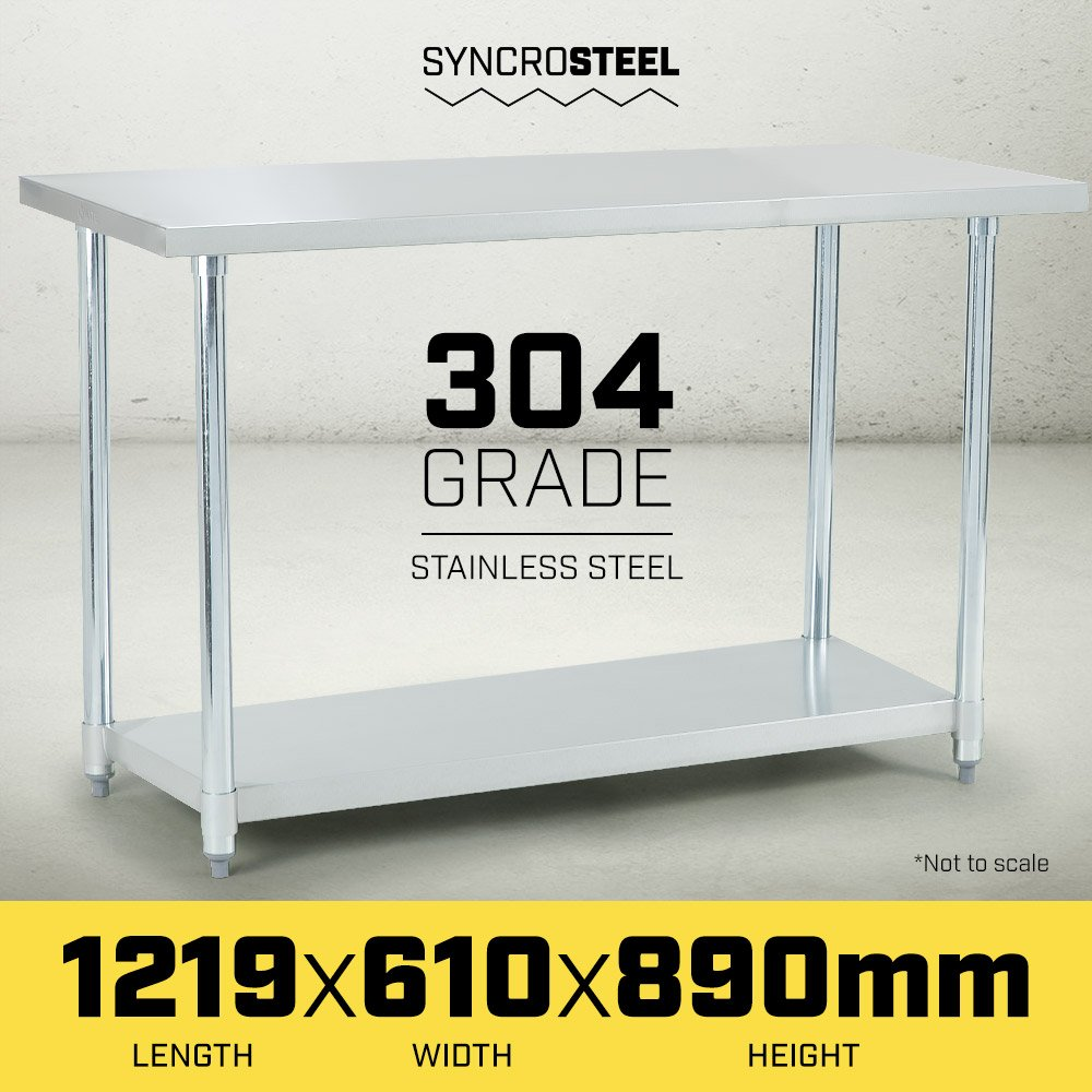 304 Stainless Steel Prep Kitchen Work Bench 1219 x 610mm - $203.5