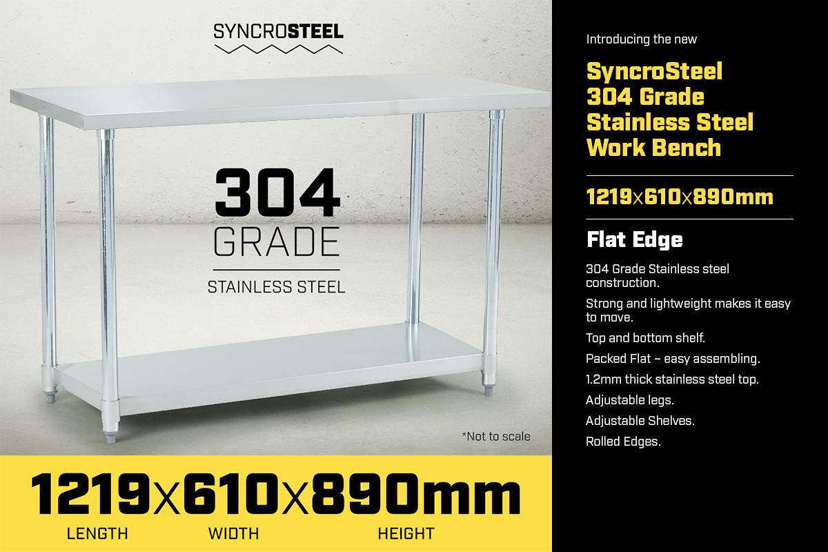 304 Stainless Steel Prep Kitchen Work Bench 1219 x 610mm