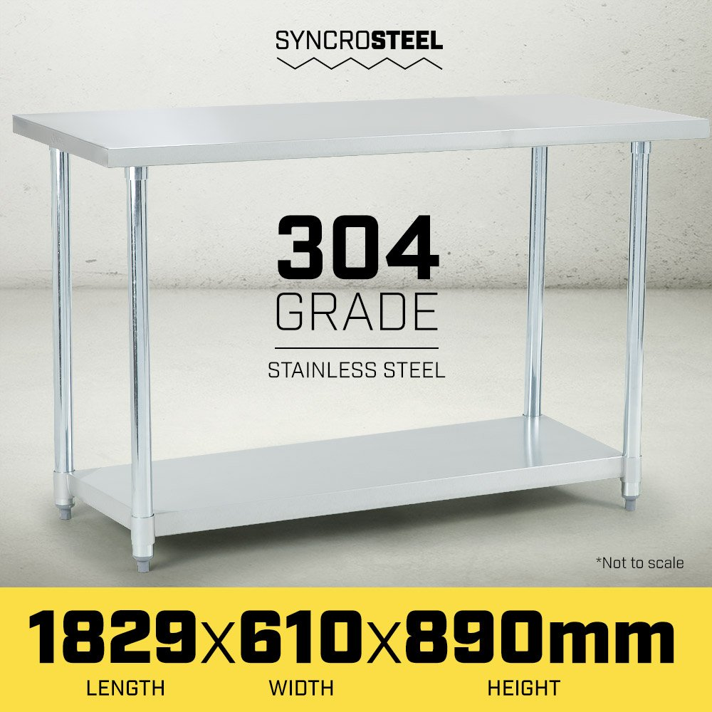 304 Stainless Steel Kitchen Prep Bench Table 610 x 1829