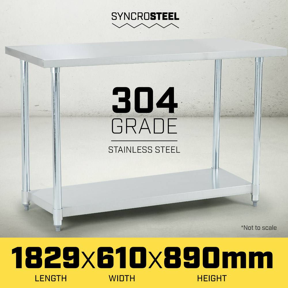 304 Stainless Steel Kitchen Prep Bench Table 610 x 1829 - $267.5