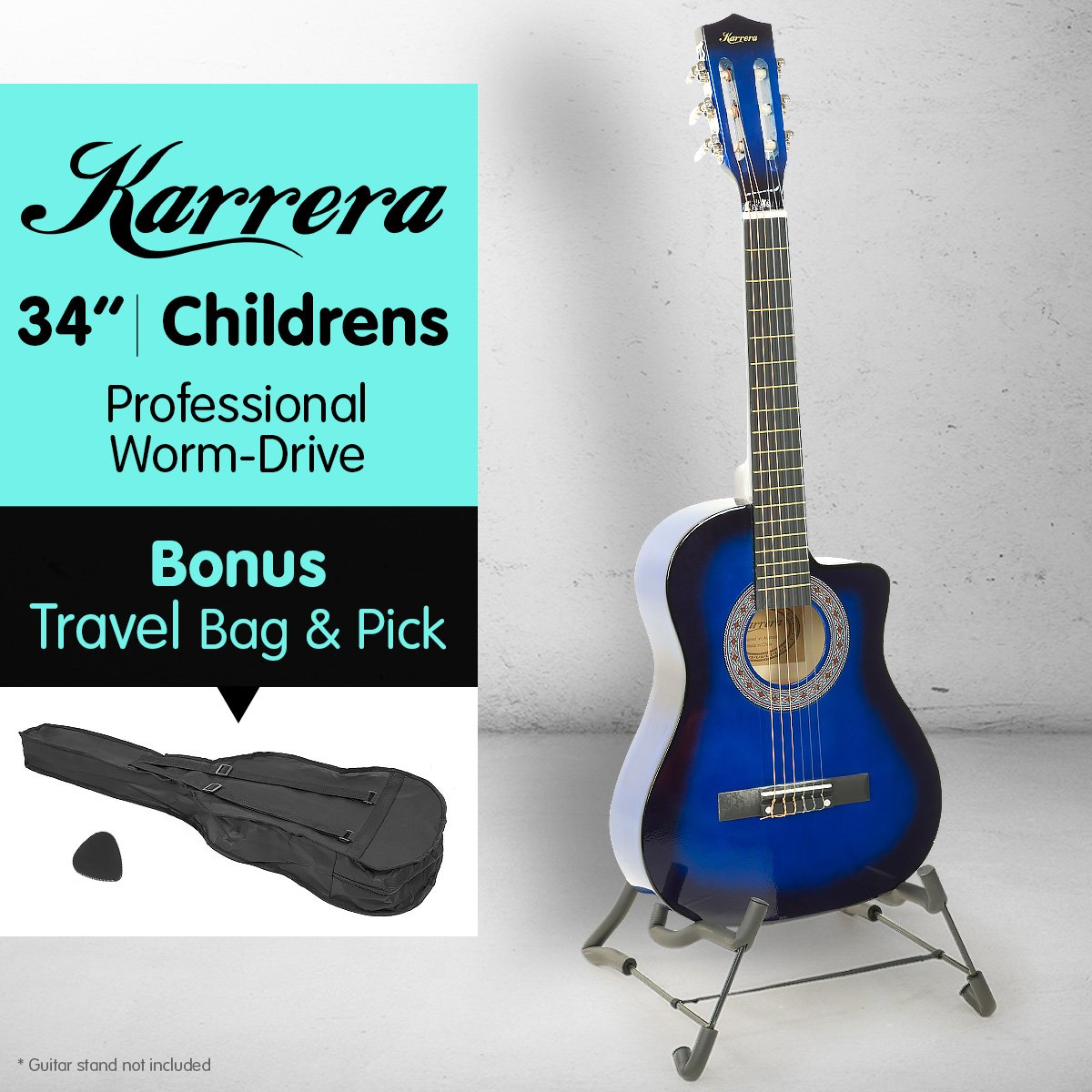 New-Karrera-Childrens-Acoustic-Cutaway-Wooden-Guitar-Ideal-Kids-Gift-1-2-Size