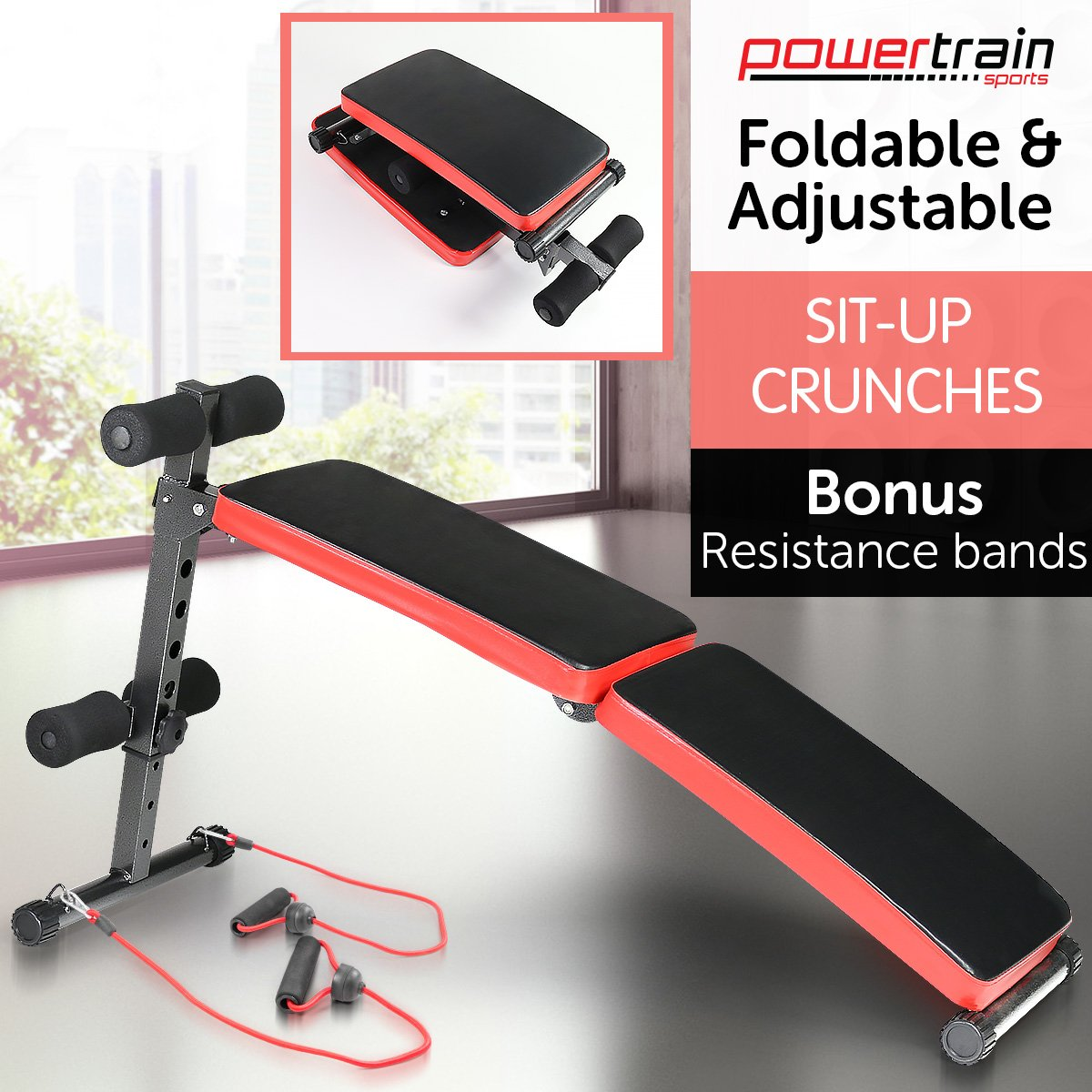 Inclined Sit up bench with Resistance bands
