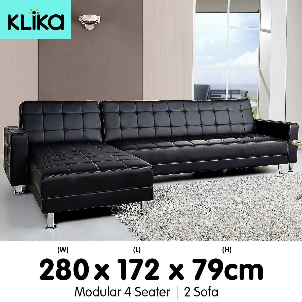 Corner sofa bed lounge couch modular furniture home pu for Black leather sofa chaise lounge