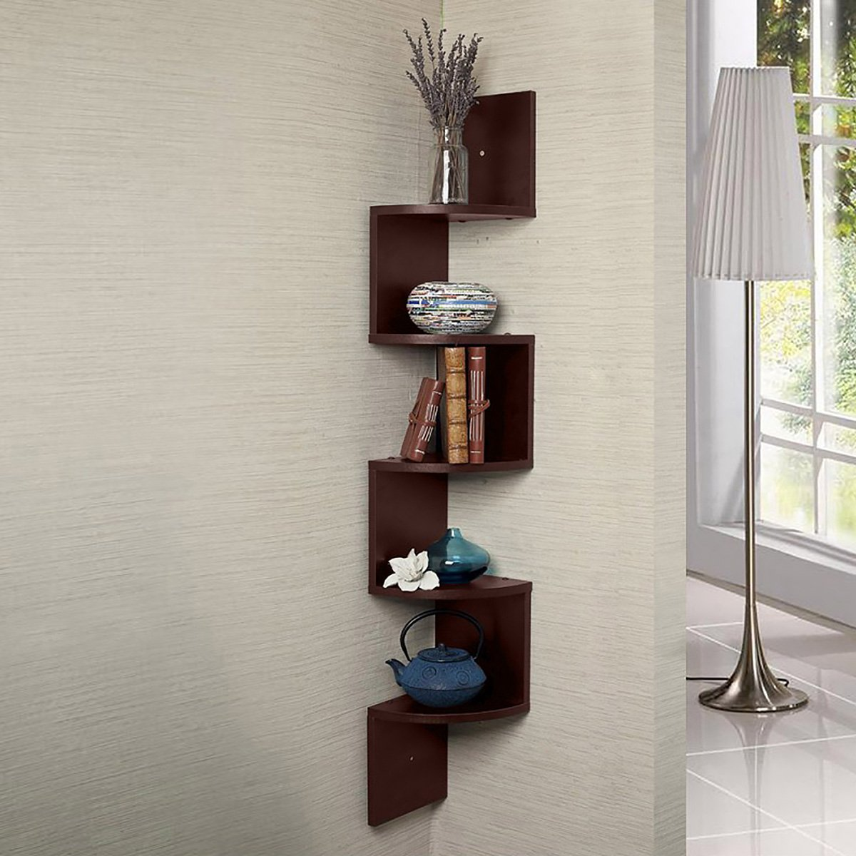 Zigzag Large Corner Wall Mount Display Shelf  - Brown
