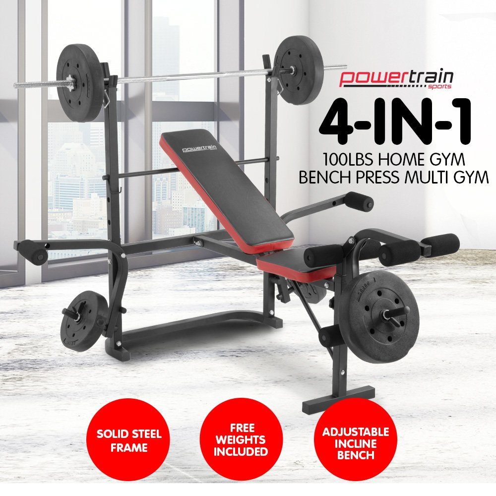 Powertrain Dm2810bk Home Gym Workout Bench Press With Weights