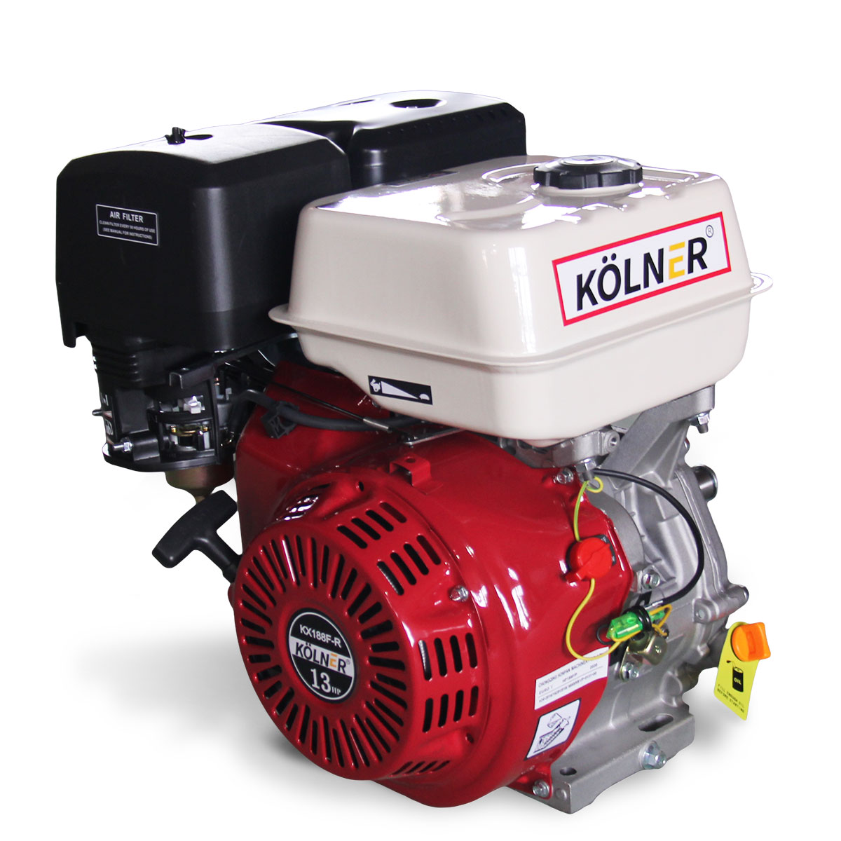 Kolner 13hp 25.4mm Horizontal Key Shaft Q Type Petrol Engine - Recoil Start