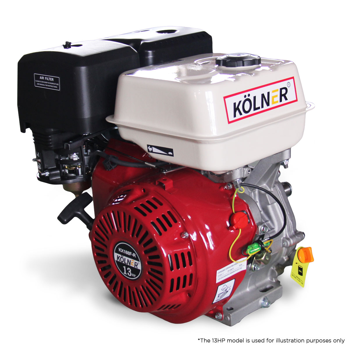 Kolner 16hp 25.4mm Horizontal Key Shaft Q Type Petrol Engine - Recoil Start - $525.05