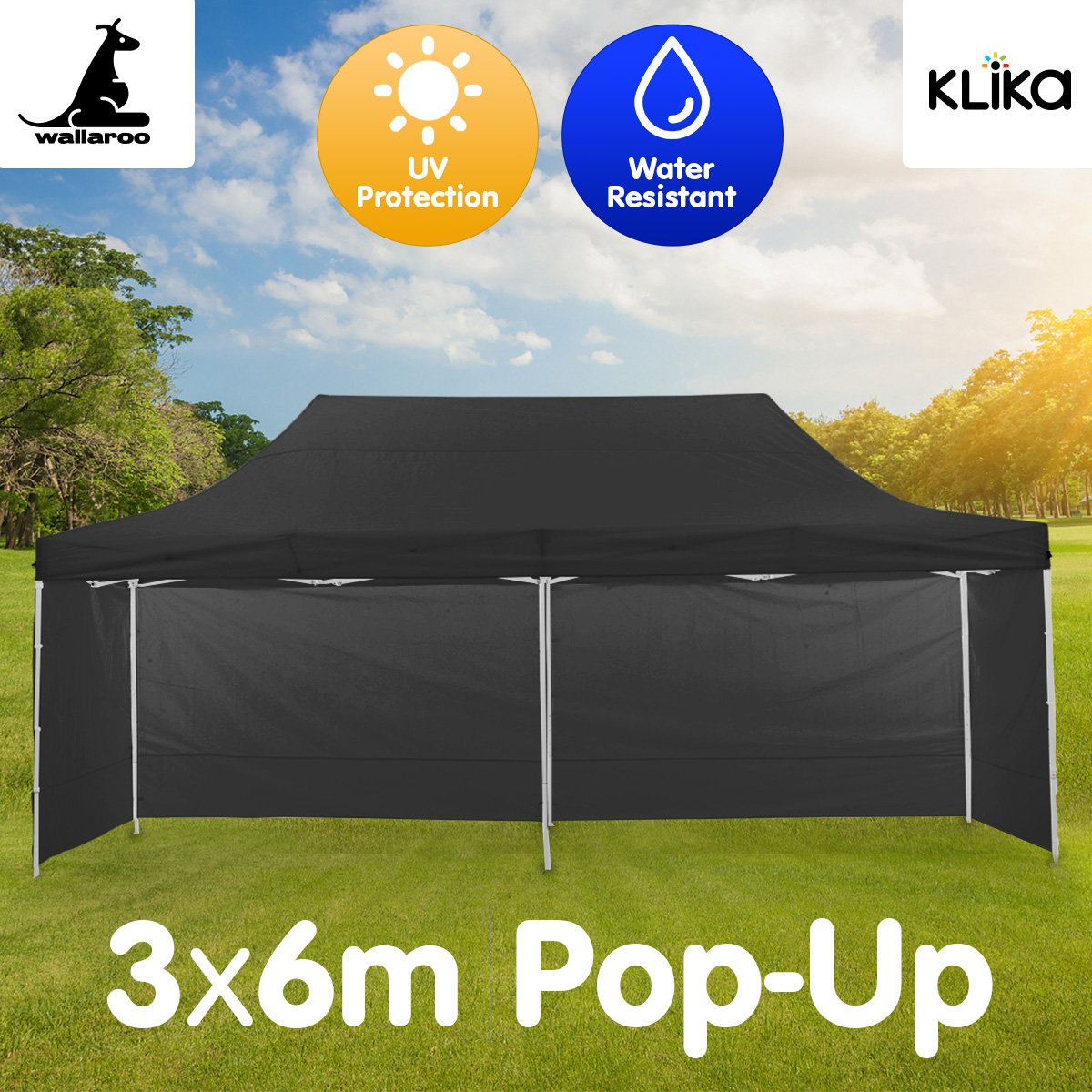 3x6m Waterproof Outdoor Garden Gazebo Marquee Canopy Tent Party Camping BBQ