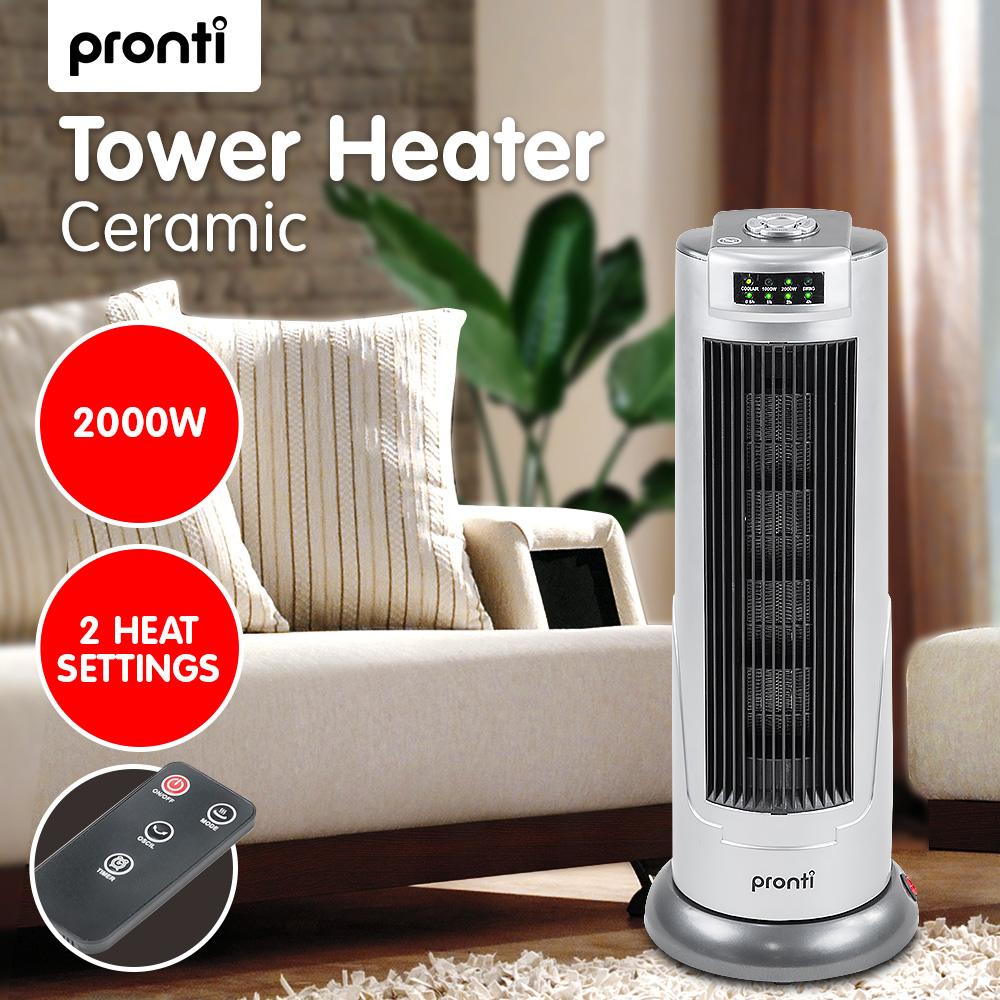 Pronti Electric Ceramic Tower Heater Silver