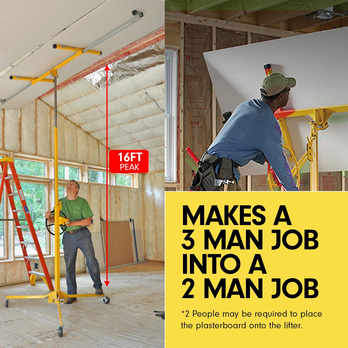 16ft Plaster Drywall Board Sheet Panel Hoist Lifter