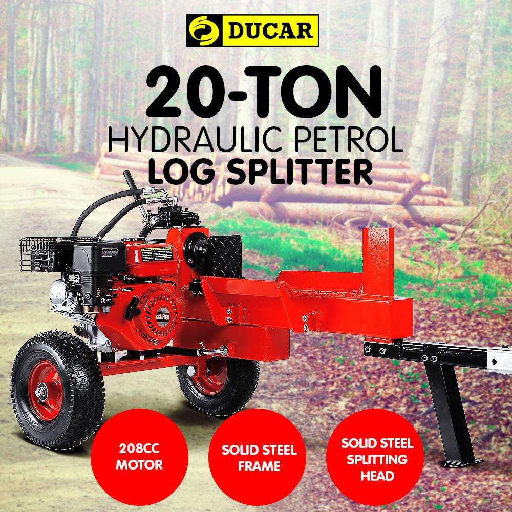 Ducar Petrol Log Splitter Wood Cutter - 20Ton