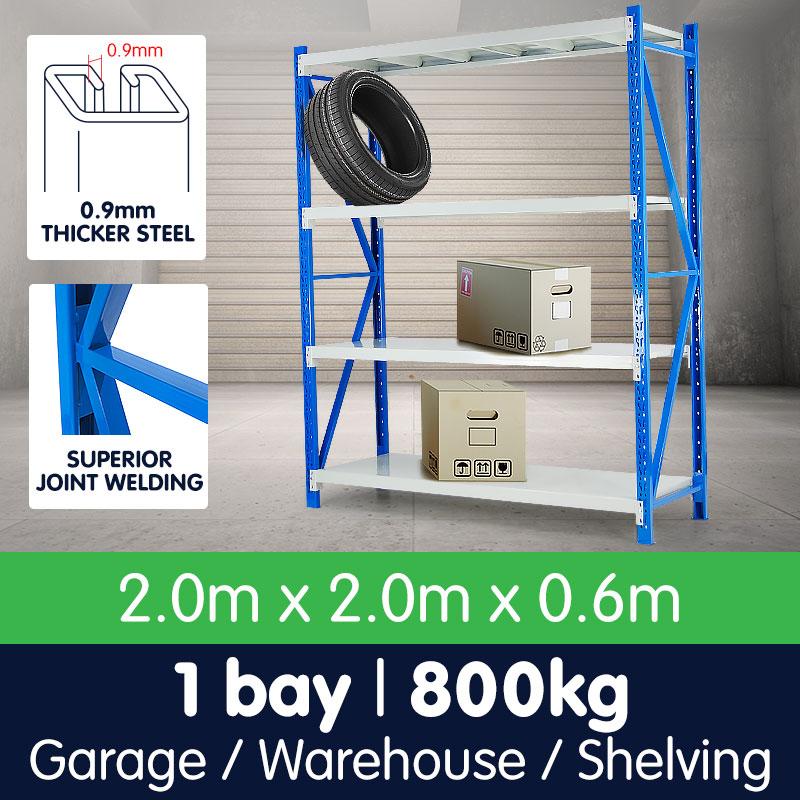 1 Bay Garage Storage Steel Rack Long Span Shelving 2.0m-wide 800kg