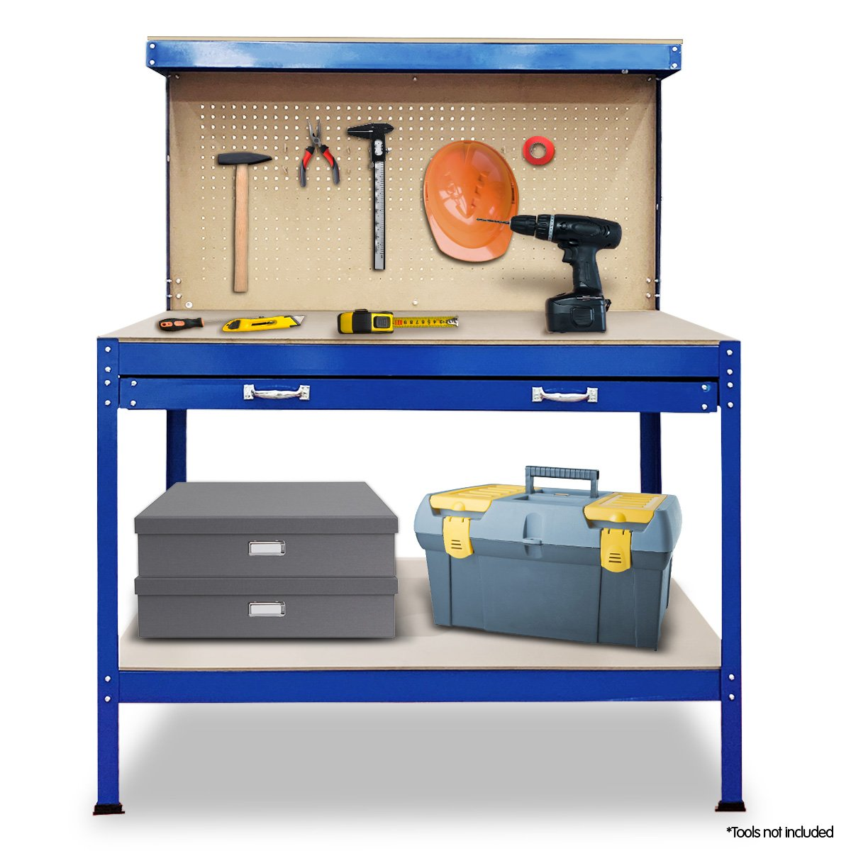 2-Layered Work Bench Garage Storage Table Tool Shop Shelf Blue - $240.9