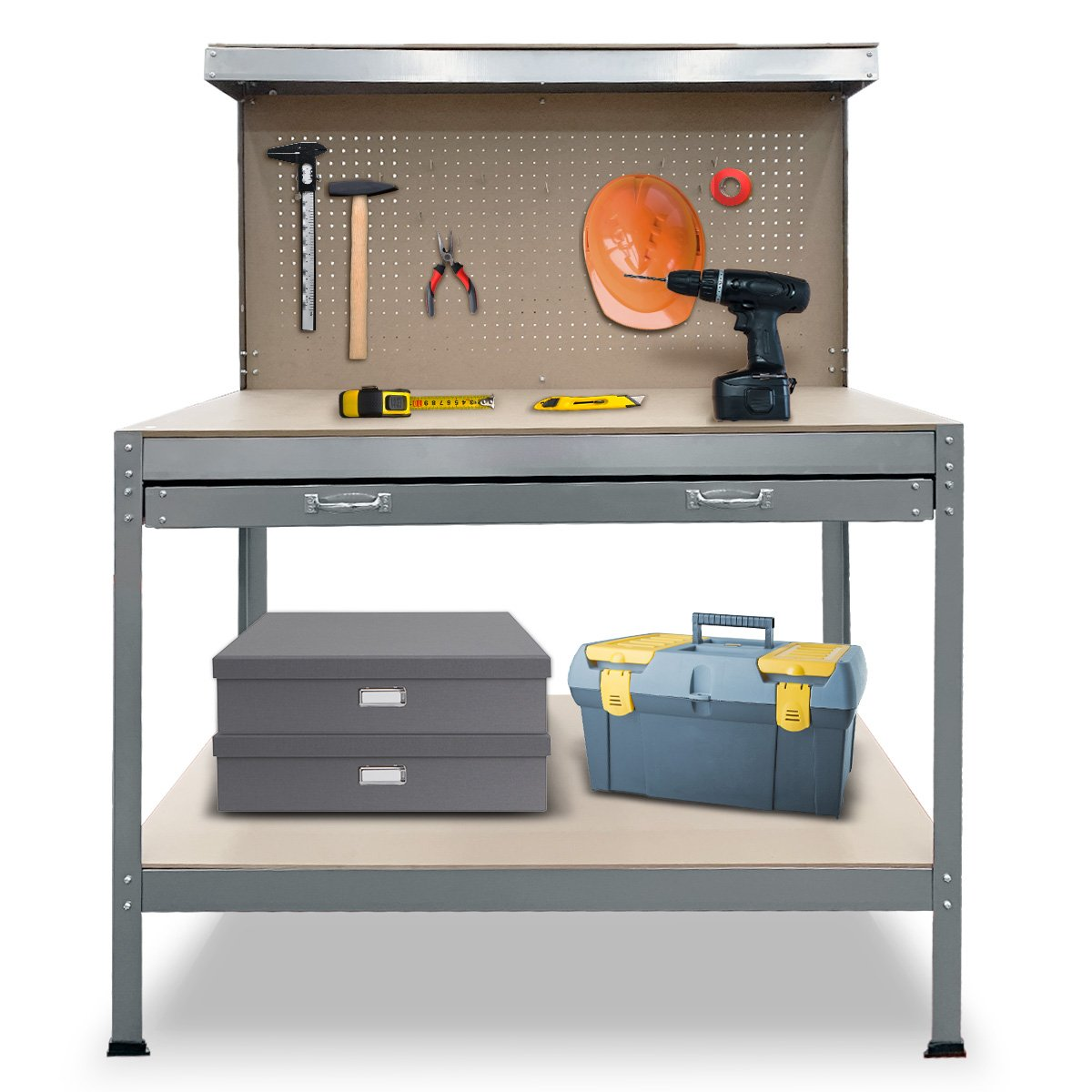 2-Layered Work Bench Garage Storage Table Tool Shop Shelf Silver - $240.9
