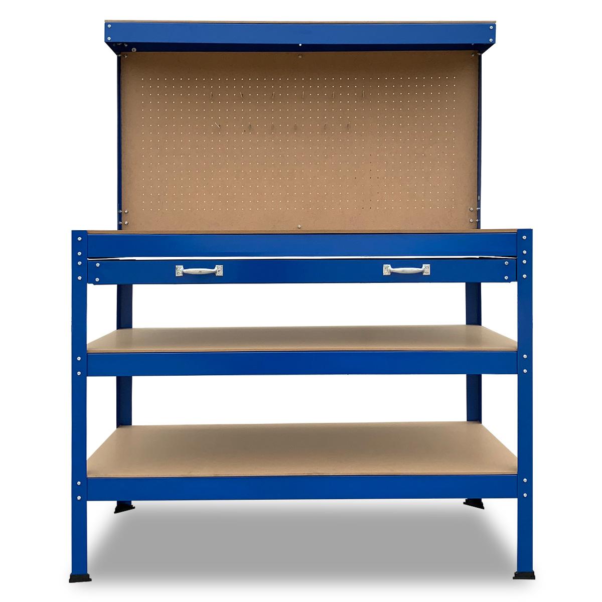 3-Layered Work Bench Garage Storage Table Tool Shop Shelf Blue