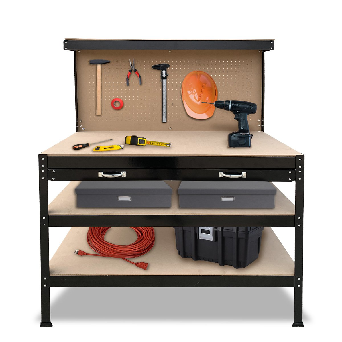 3-Layered Work Bench Garage Storage Table Tool Shop Shelf