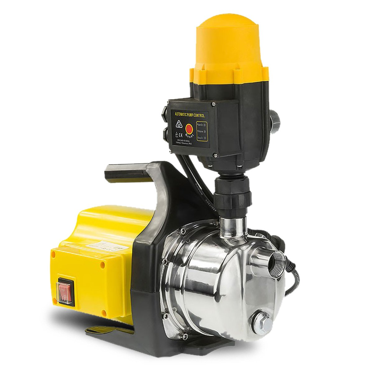 1200w Weatherised stainless auto water pump - Yellow - $343.3