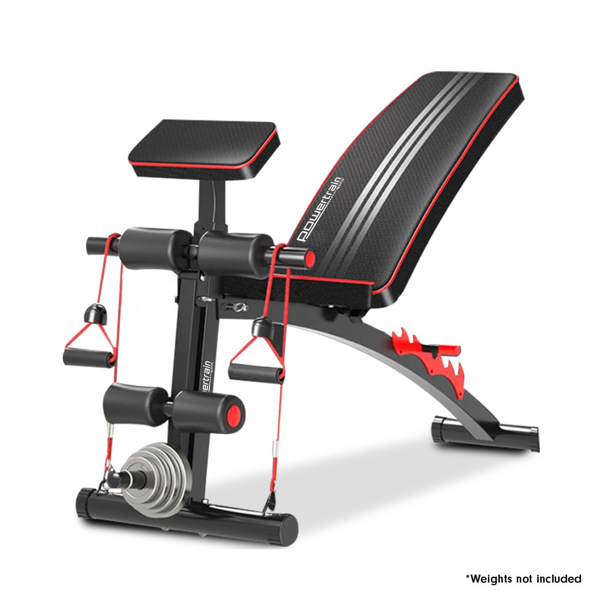 PowerTrain Adjustable Incline Decline Flat Home Gym Bench - 208