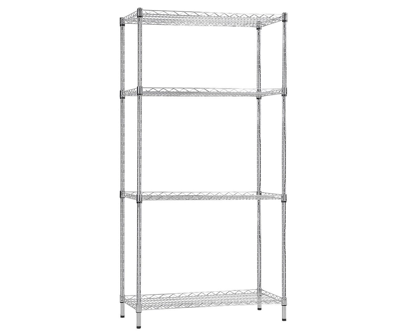 Syncrosteel Chrome Wire Shelving Storage Unit 1200x350mm - 1.80 m high
