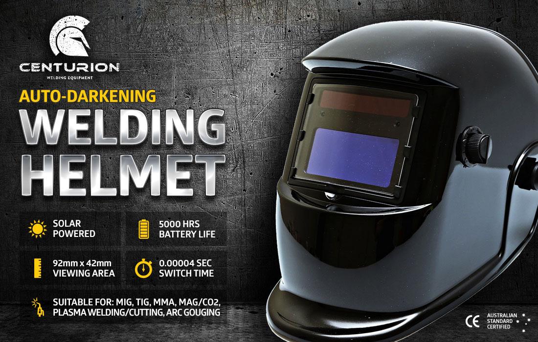 Centurion Solar Auto Darkening Welding Helmet - Glossy Black