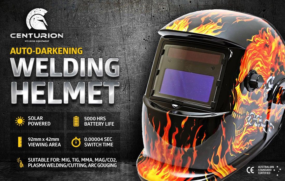 Centurion Solar Auto Darkening Welding Helmet - Skull Flame