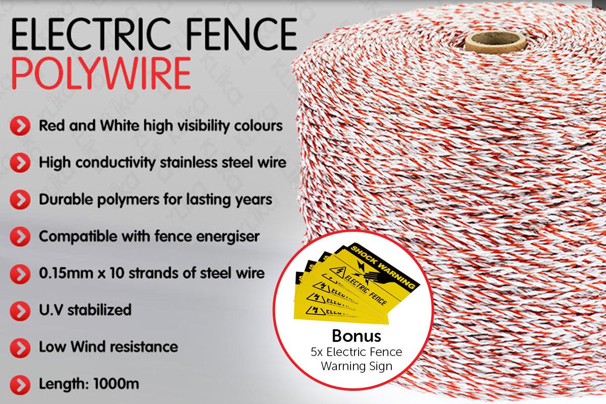 Fence Polywire 1000m 10 strand