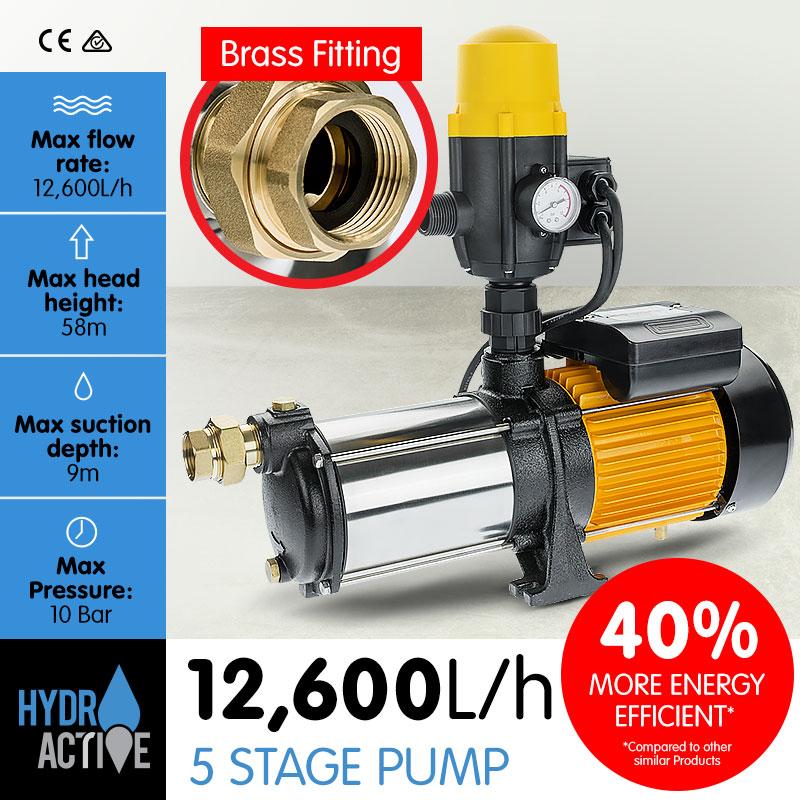 Hydro Active 5 Stage High Pressure Auto Water Pump - 1800W