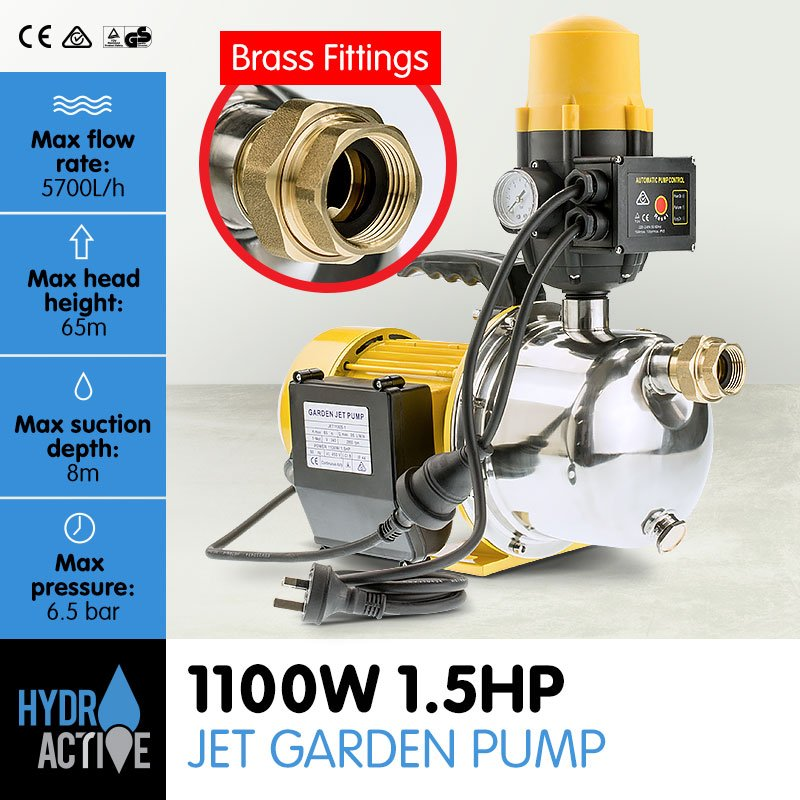 HydroActive 1600W Garden Electric Water Pump with Controller
