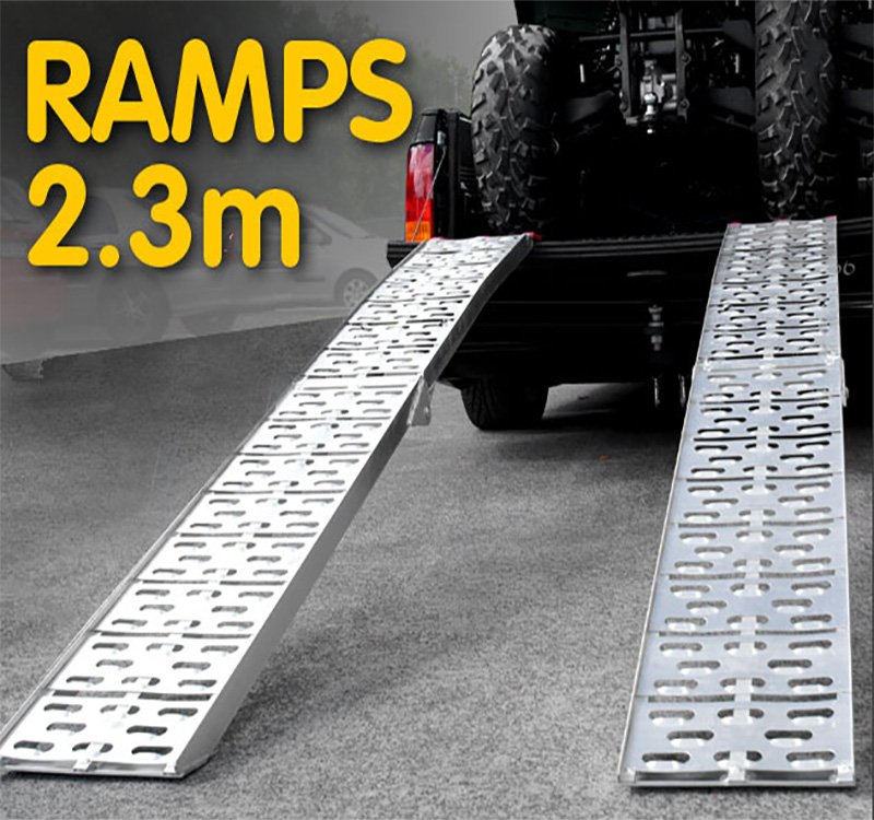 2x Aluminium Folding Loading Ramps ATV Motorbike - $229.1