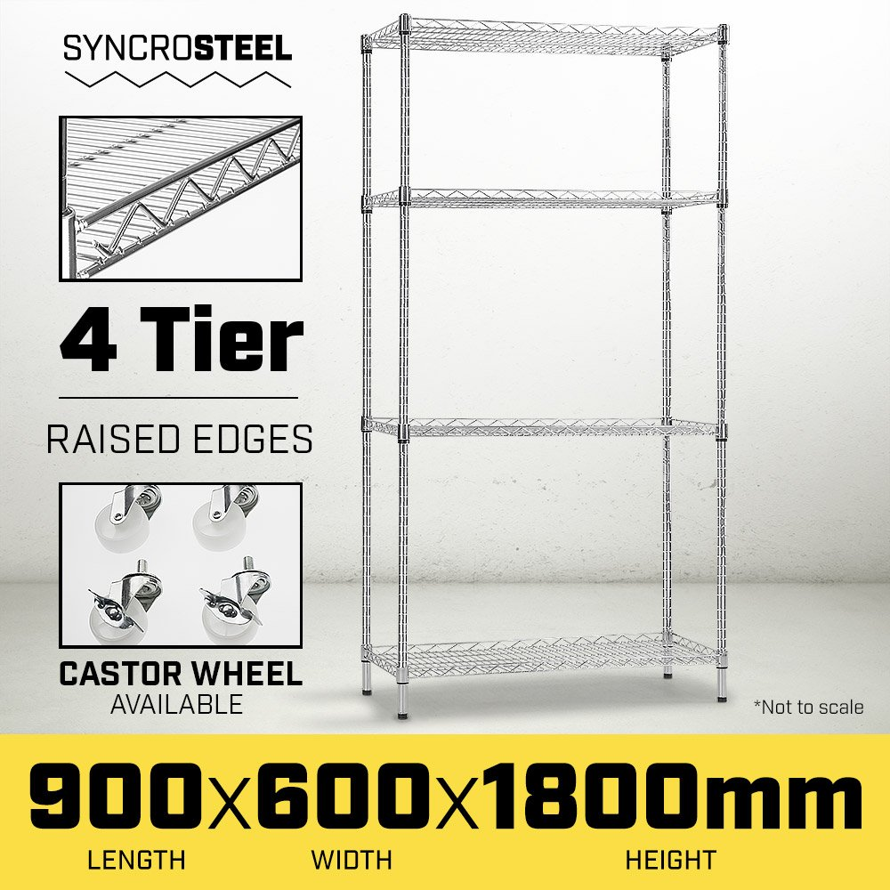 Syncrosteel Chrome Wire Shelving Storage Unit - 900 x 600mm - 1.8m high