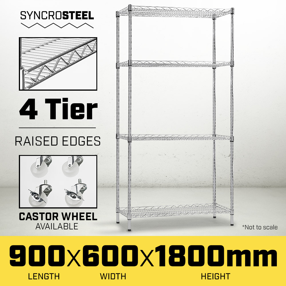 Syncrosteel Chrome Wire Shelving Storage Unit - 900 x 600mm - 1.8m high - $276.7