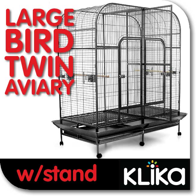 DUAL-LARGE-PET-BIRD-PARROT-COCKATOO-CAGE-AVIARY-u