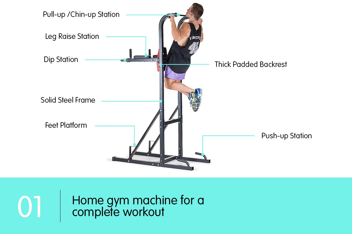 KNEE-RAISE-POWER-TOWER-CHIN-UP-DIP-STATION-PUSH-PULL-UP-MULTI-HOME-GYM-EXERCISE