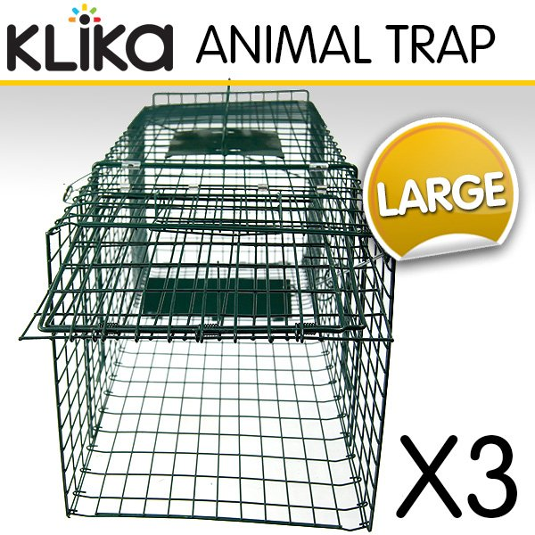 3-x-EXTRA-LARGE-HUMANE-ANIMAL-TRAP-POSSUM-CAT-RABBIT-HARE-CATCHER