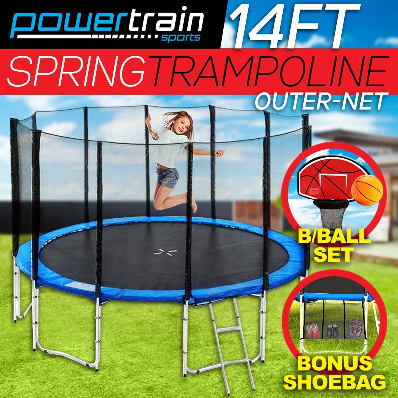 14ft-ROUND-TRAMPOLINE-FREE-SAFETY-NET-PAD-MAT-LADDER-SHOE-TIDY-BASKETBALL-SET
