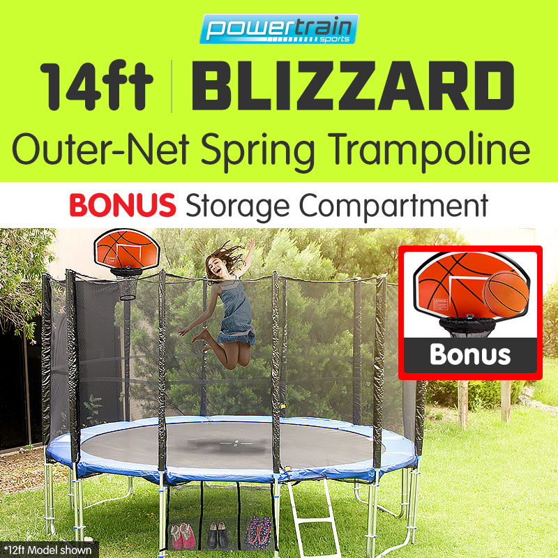 14ft-ROUND-TRAMPOLINE-FREE-SAFETY-NET-PAD-MAT-LADDER-SHOE-TIDY-BASKETBALL-SET