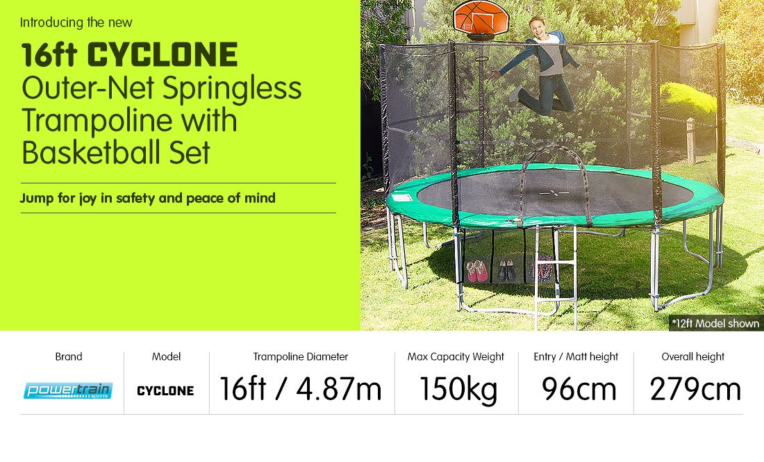 16ft 12 Post Springless Trampoline Free Safety Net Pad Mat