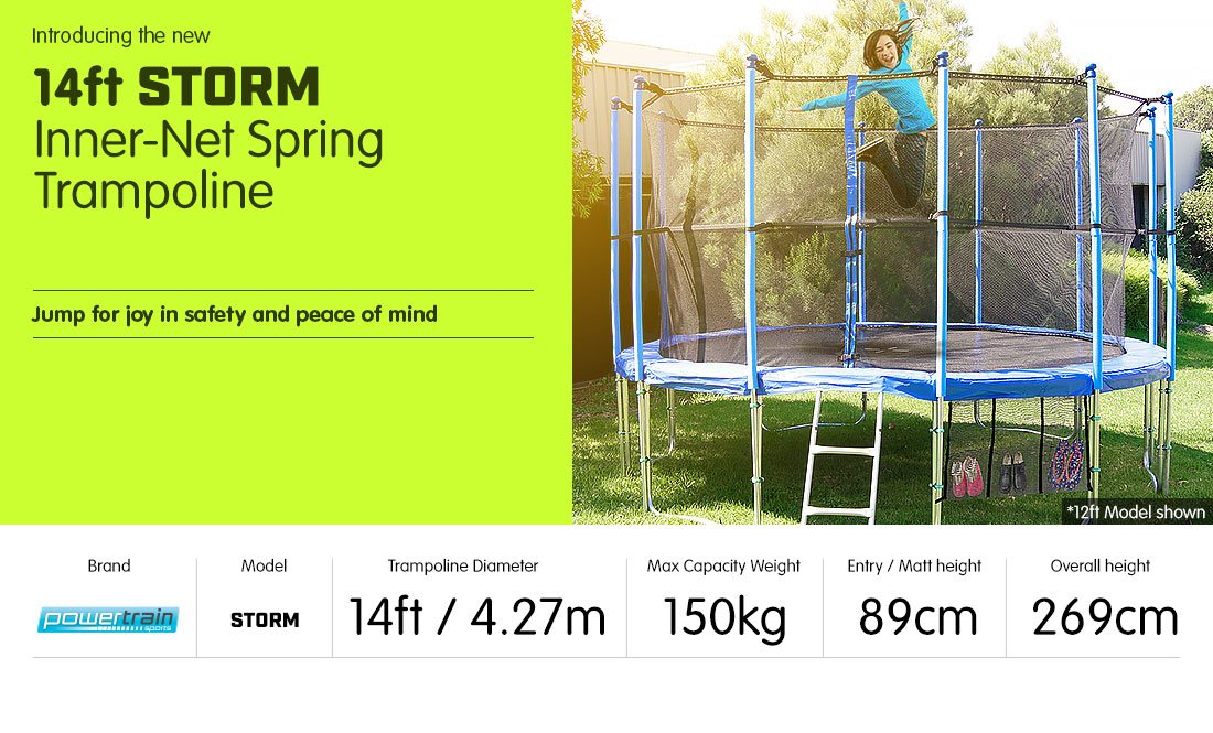 14ft-12-POST-ROUND-TRAMPOLINE-FREE-ENCLOSURE-SAFETY-NET-PAD-MAT-SHOE-TIDY-LADDER