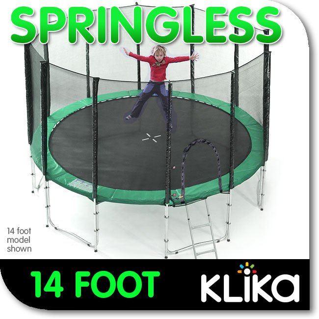 NEW-SPRINGLESS-OUTDOOR-ROUND-14ft-TRAMPOLINE-WITH-SAFETY-NET-ENCLOSURE